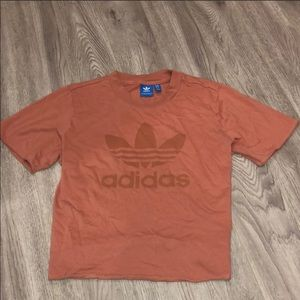 Adidas pink trefoil cropped tee